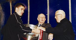 Ricey with Sam Maguire Cup, Jim Curran & Canon Breen
